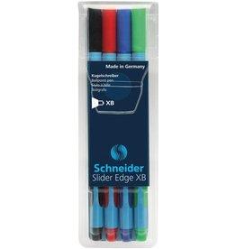 Schneider balpen Schneider Slider Edge etui a 4 stuks basic kleuren