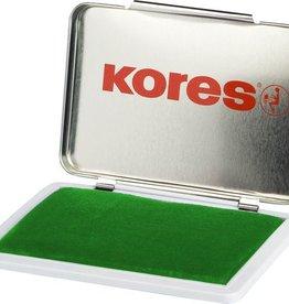 Kores Stempelkussen in metalen box, 7 x 11 cm. Kleur groen.