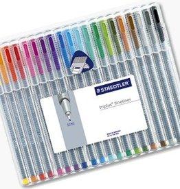 Staedtler Staedtler fineliner Triplus geassorteerde kleuren, opstelbare box met 20 stuks