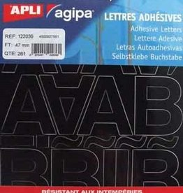 Agipa Agipa etiketten cijfers en letters KLEEFLETTERS 47MM ZWART