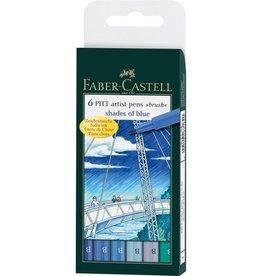 Faber Castell Faber Castell Pitt Artist etui a 6 stuks shades of blue Pen Brush
