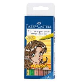 Faber Castell Faber Castell Pitt Artist Pen Manga 6-delig etui Kaoiro