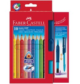 Faber Castell Faber Castell Jumbo GRIP etui a 10 stuks incl penseel kleurpotloden set