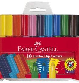 Faber Castell Faber Castell Jumbo Clip Colour etui met 10 stuks viltstiften