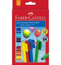 Faber Castell Faber Castell Jumbo Connector kartonetui met 12 stuks viltstiften