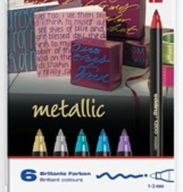 Edding Edding viltstift e-1200 6 stiften in geassorteerde metallic kleuren in een metalen doos