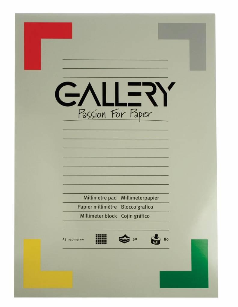 Gallery Gallery millimeterpapier, ft 29,7 x 42 cm (A3), blok van 50 vel