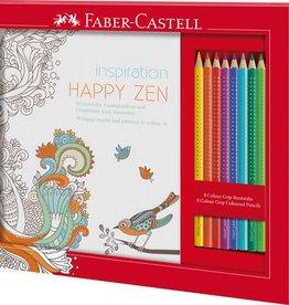 Faber Castell Faber Castell kleurset met 8 grip kleurpotloden en 1 kleurboek happy zen
