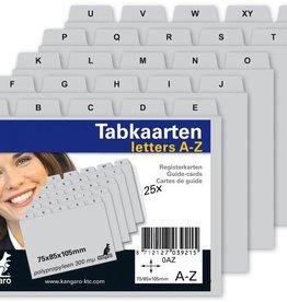 Kangaro Kangaro tabkaart  A-Z PP 300mµ grijs 105x75/85mm