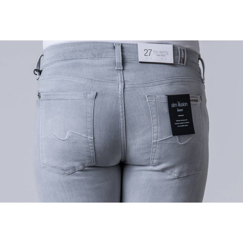 7 FOR ALL MANKIND THE SKINNY LUXE CRYSTAL LIGHT GREY