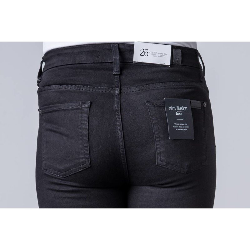 7 FOR ALL MANKIND HIGH WAIST SKINNY LUXE BLACK