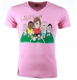 Local Fanatic T-shirt - Football Legends Print - Roze