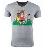 Local Fanatic T-shirt - Football Legends Print - Grijs