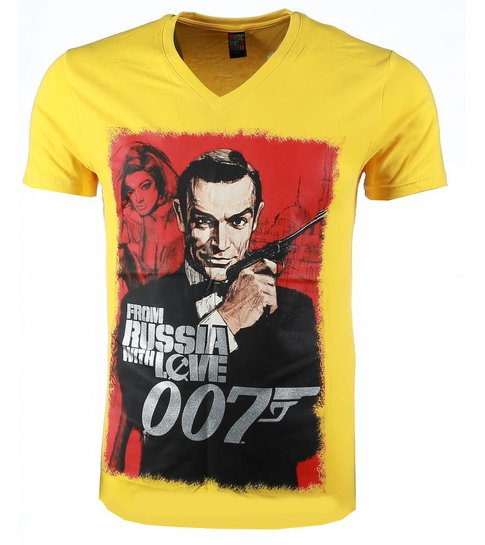 Local Fanatic T-shirt - James Bond From Russia 007 Print - Geel