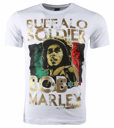 Local Fanatic T-shirt - Bob Marley Buffalo Soldier Print - Wit