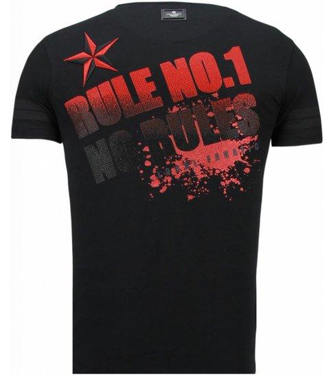 Local Fanatic Fighter! - Rhinestone T-shirt - Zwart
