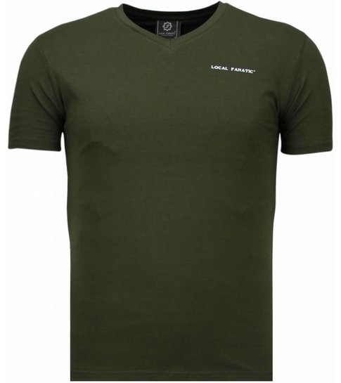 Local Fanatic Basic Exclusieve V Neck - T-Shirt - Groen