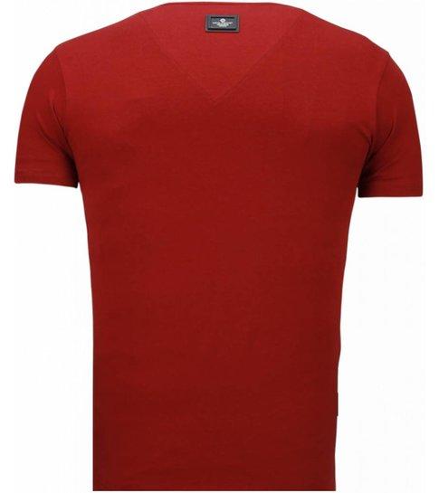 Local Fanatic Basic Exclusieve V Neck - T-Shirt - Bordeaux