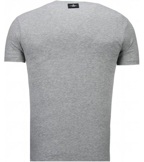Local Fanatic Basic Exclusieve V Neck - T-Shirt - Grijs