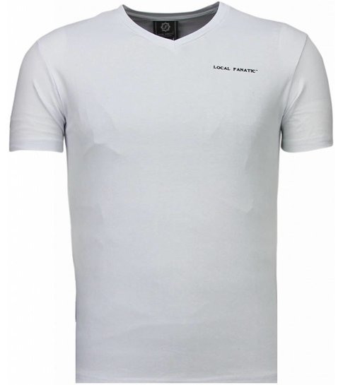 Local Fanatic Basic Exclusieve V Neck - T-Shirt - Wit