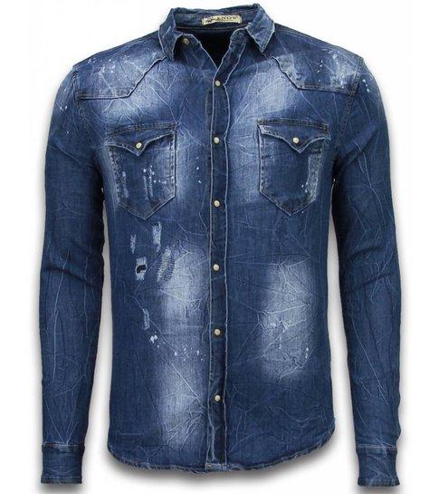Enos Denim Shirt - SpijkerBlouse Slim Fit Long Sleeve - Vintage Look - Blauw