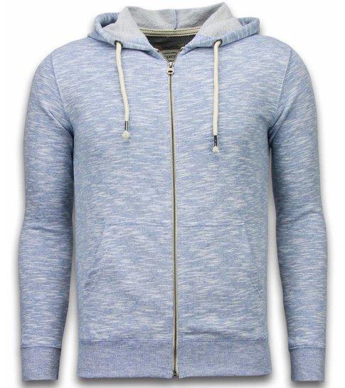 Enos Casual Vest - Melange Zen Fleece - Blauw