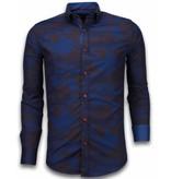 TONY BACKER Italiaanse Overhemden - Slim Fit Overhemd - Blouse Army Lined Pattern - Bordeaux
