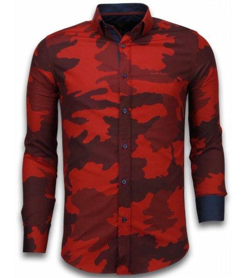 TONY BACKER Italiaanse Overhemden - Slim Fit Overhemd - Blouse Classic Army Pattern - Bordeaux