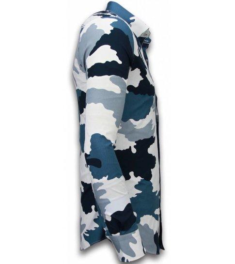 TONY BACKER Italiaanse Overhemden - Slim Fit Overhemd - Blouse Classic Army Pattern - Blauw