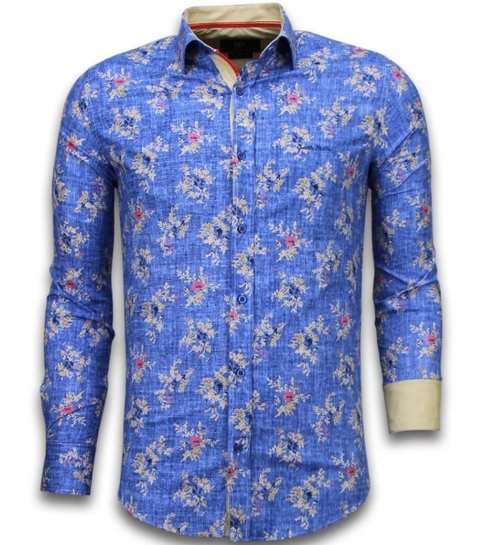 TONY BACKER Italiaanse Overhemden - Slim Fit Overhemd - Blouse Woven Flowers Pattern - Blauw