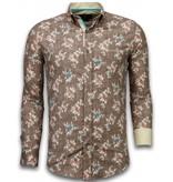 TONY BACKER Italiaanse Overhemden - Slim Fit Overhemd - Blouse Woven Flowers Pattern - Bruin