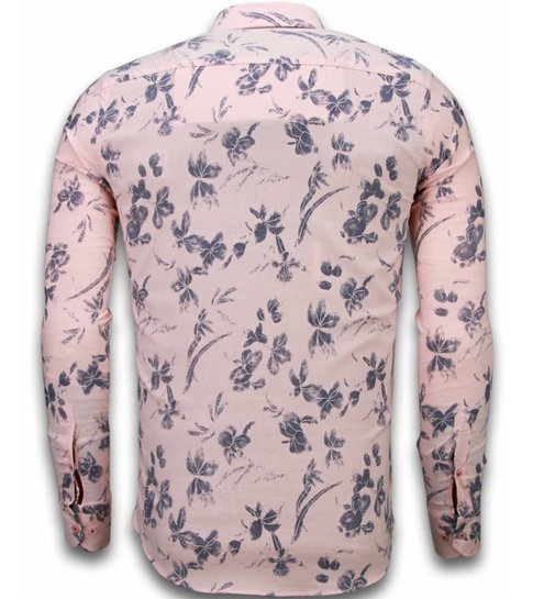 TONY BACKER Italiaanse Overhemden - Slim Fit Overhemd - Blouse Hawaii Pattern - Roze