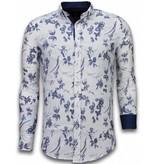 TONY BACKER Italiaanse Overhemden - Slim Fit Overhemd - Blouse Hawaii Pattern - Wit