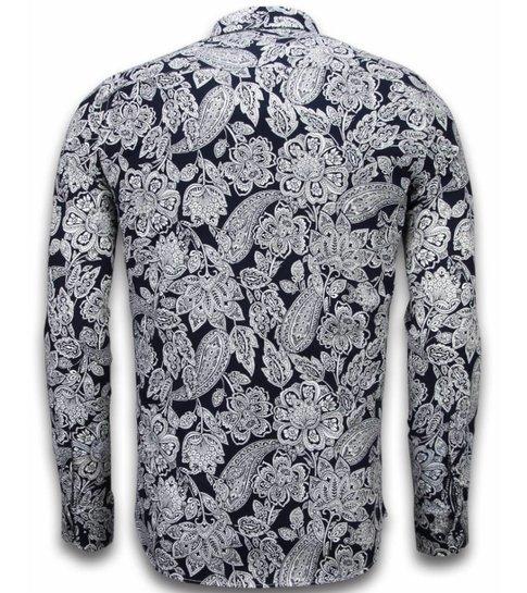 TONY BACKER Italiaanse Overhemden - Slim Fit Overhemd - Blouse White On Navy Flower Pattern - Navy
