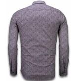 TONY BACKER Italiaanse Overhemden - Slim Fit Overhemd - Blouse Purple Flower Pattern - Paars