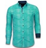 TONY BACKER Italiaanse Overhemden - Slim Fit Overhemd - Blouse Flower Icon Pattern - Turquoise