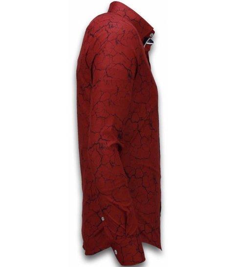 TONY BACKER Italiaanse Overhemden - Slim Fit Overhemd - Blouse Marble Pattern - Bordeaux