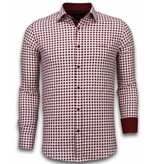 TONY BACKER Italiaanse Overhemden - Slim Fit Overhemd - Blouse Garment Pattern - Rood