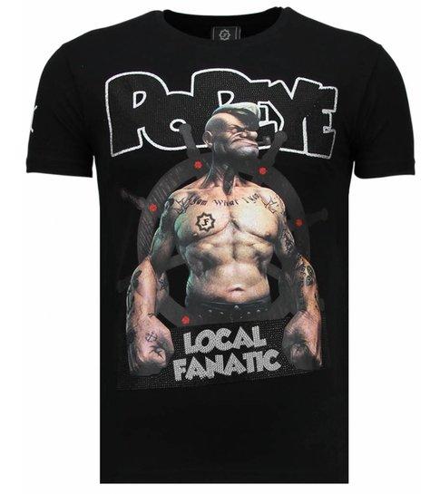 Local Fanatic The Sailor Man - Rhinestone T-shirt - Zwart