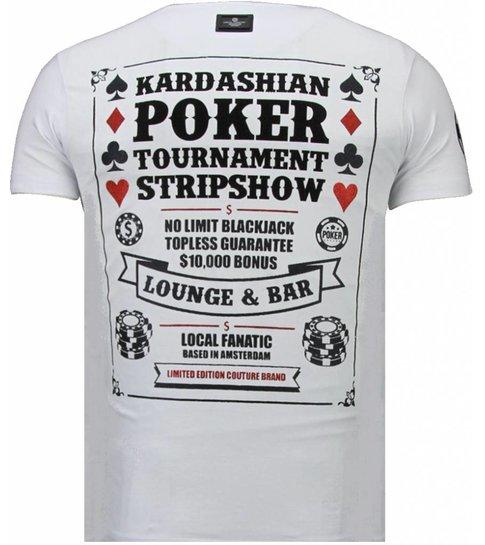 Local Fanatic Poker Tournament - Rhinestone T-shirt - Wit