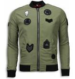 Maximal BomberJack Heren - Bomberjack Military Skull Patches - Groen