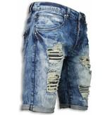 JUSTING Korte Broeken Heren - Slim Fit Vintage Look Shorts - Blauw