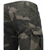BB  Bread & Buttons Korte Broeken Heren - Slim Fit Camouflage Shorts - Groen
