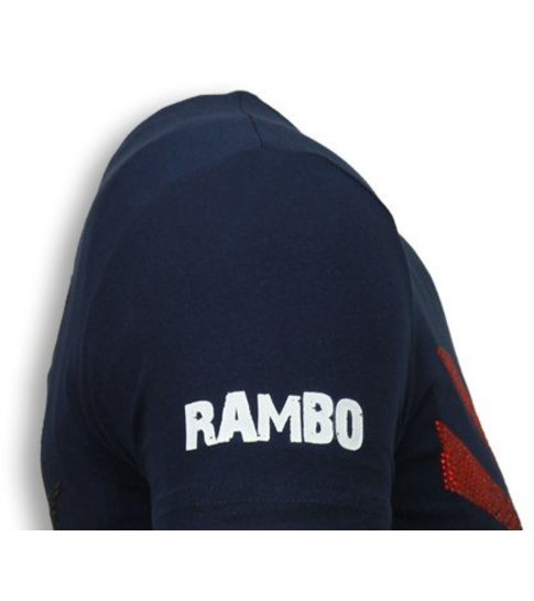 Local Fanatic Rambo Shine - Rhinestone T-shirt - Navy