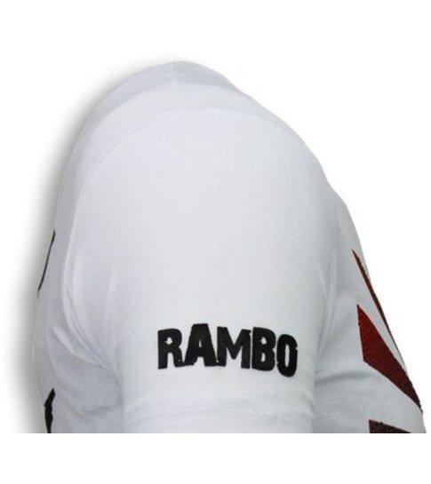 Local Fanatic Rambo Shine - Rhinestone T-shirt - Wit