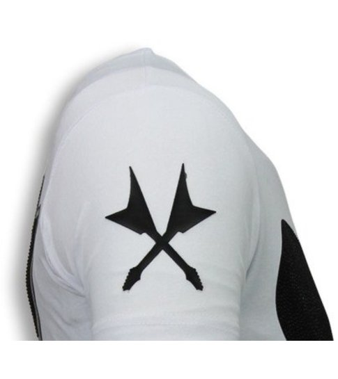 Local Fanatic Kiss My Mickey - Rhinestone T-shirt - Wit