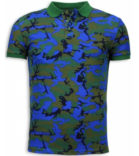 BN8 BLACK NUMBER Camo Polo Shirt - Neon Camouflage Polo Shirt - Blauw