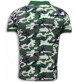 Black Number Camo Polo Shirt - Neon Camouflage Polo Shirt - Beige / Groen