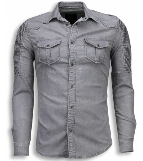TRUE RISE Biker Denim Shirt - Slim Fit Ribbel Schoulder - Grijs
