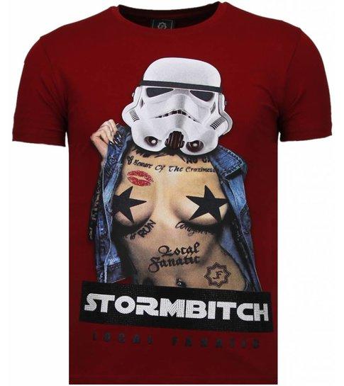Local Fanatic Stormbitch - Rhinestone T-shirt - Bordeaux